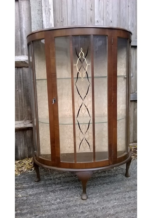 Bow fronted 1930s Display Cabinet